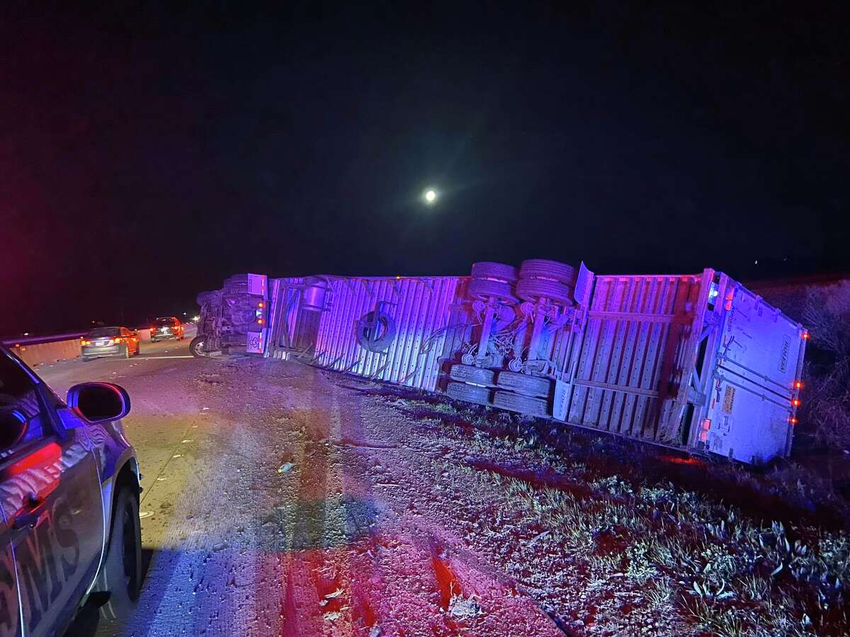 75,000 pounds of pork stopped traffic Friday, Feb. 7, 2020 when an 18-wheeler carrying the pig parts crashed before 5 a.m.