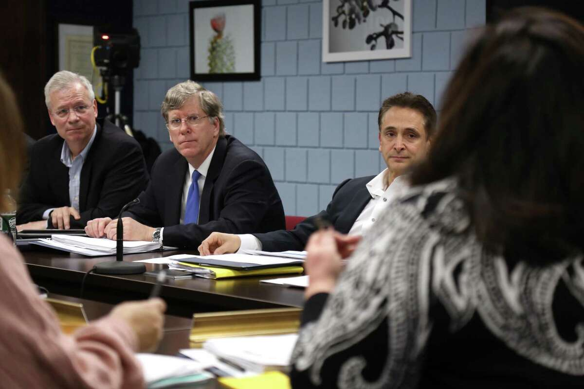 Board of Finance members, from left, including Chairman Jeff Rutishauser, Vice Chairman Michael Kaelin, and Stewart Koenigsberg, listen to comments on the budget from school officials in February 2020.