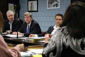 Board of Finance members, from left, including Chairman Jeff Rutishauser, Vice Chairman Michael Kaelin, and Stewart Koenigsberg, listen to comments on the budget from school officials on Feb. 6.