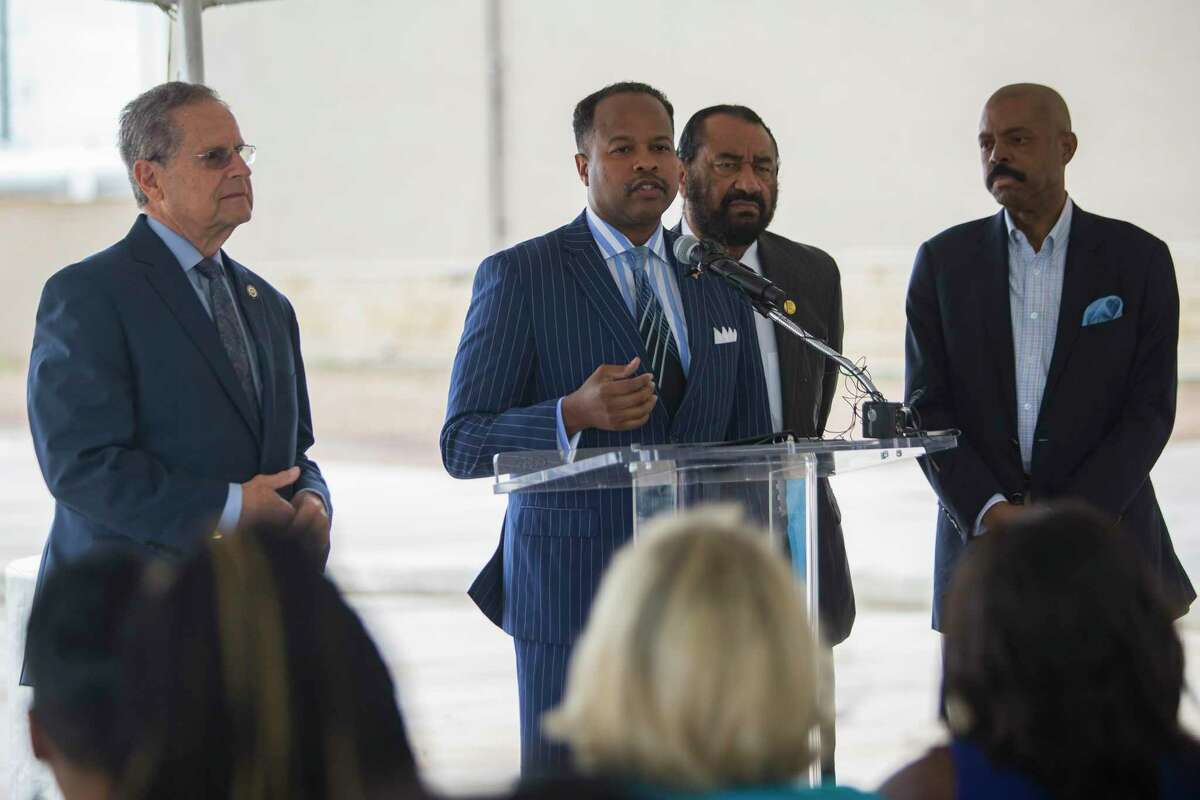 State Rep. Ron Reynolds, D-Missouri City, center, speaks at an event celebrating progress on the Sugar Land 95 Memorial Project. Reynolds is one of about a hundred candidates, lobbyists and political action committees each year who fail to file mandatory disclosures of their donors and expenses.
