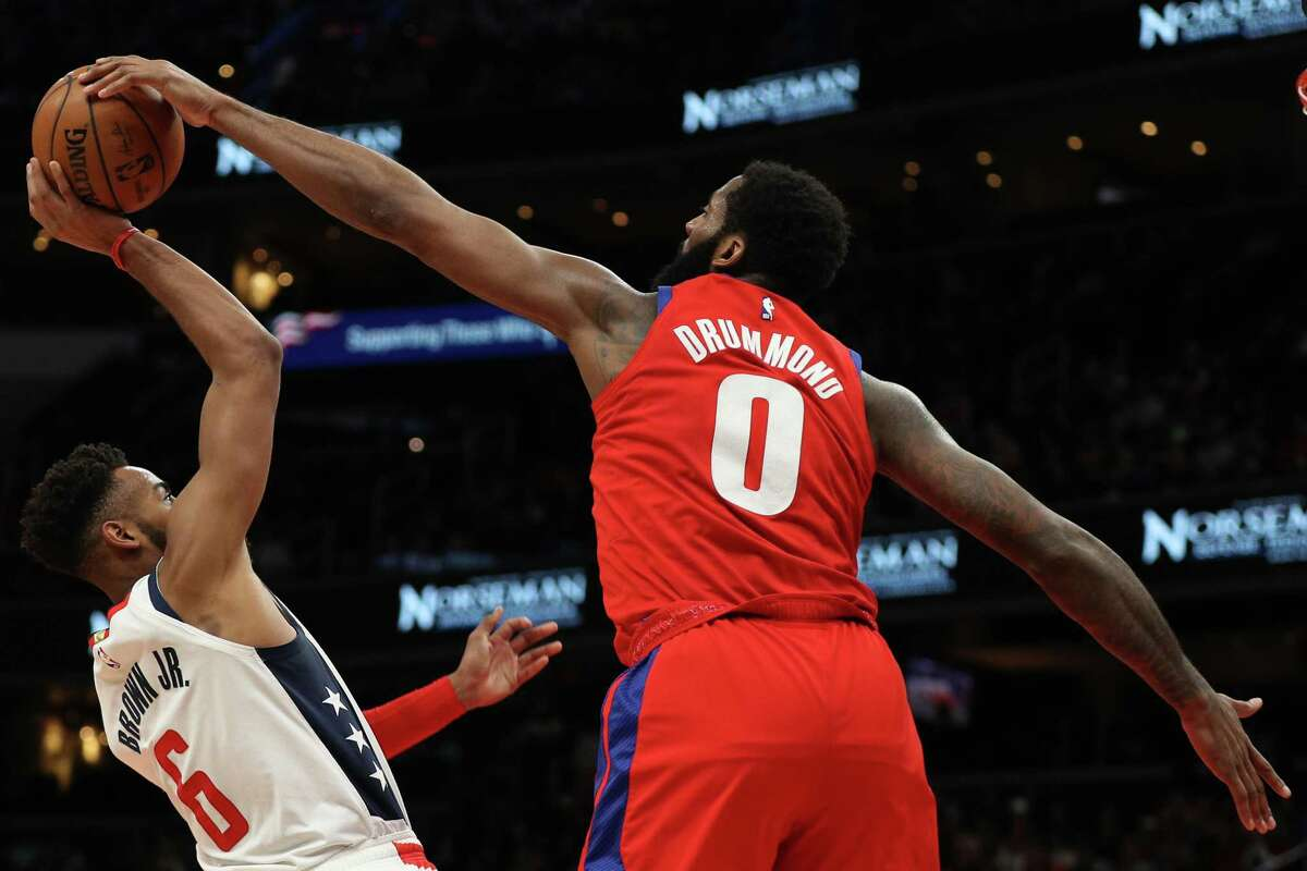 Troy Brown Jr. #6 of the Washington Wizards has his shot blocked by Andre Drummond #0 of the Detroit Pistons during the second half at Capital One Arena on January 20, 2020 in Washington, DC.