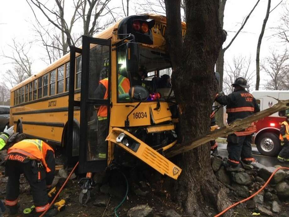 A Westport school bus driver was involved in a crash on Sylvan Road North on Friday, Feb. 7, 2020. Photo: Westport Fire Department
