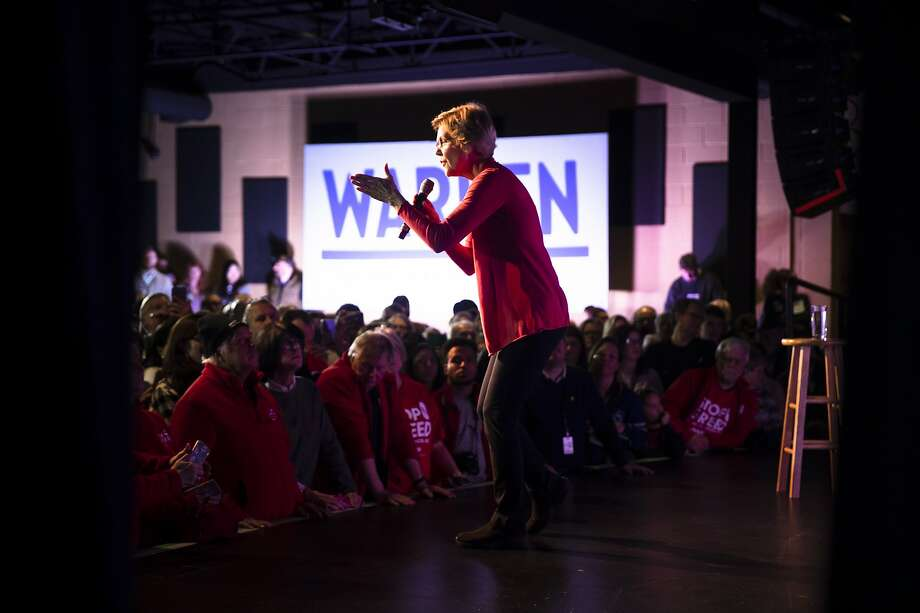 """Democratic presidential candidate Sen. Elizabeth Warren, D-Mass., addresses a rally Thursday in Derry, N.H., ahead of Tuesday's primary. She says her campaign """"is built for the long haul."""" Photo: Matt Rourke / Associated Press"""