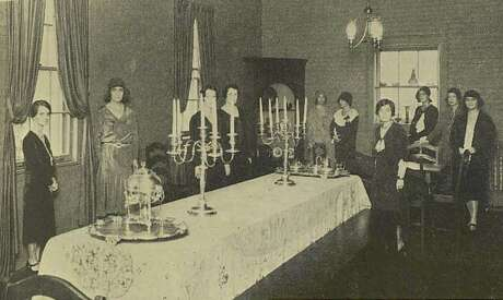 An old photo of the dining room where the Junior League of Houston served meals that helped raise money for community service projects.