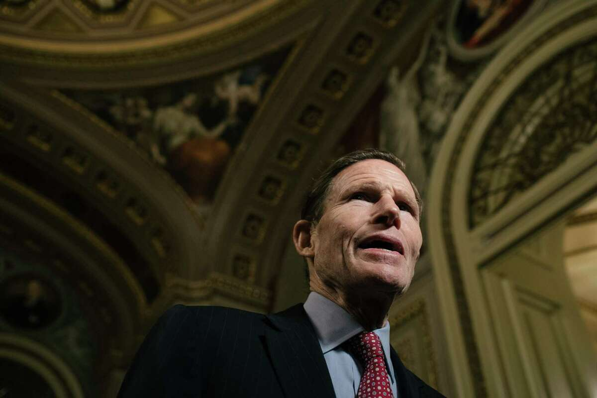 Sen. Richard Blumenthal (D-Conn.) speaks to reporters during a break in the impeachment trial of President Donald Trump at the Capitol in Washington, on Friday, Jan. 31, 2020. (Alyssa Schukar/The New York Times)