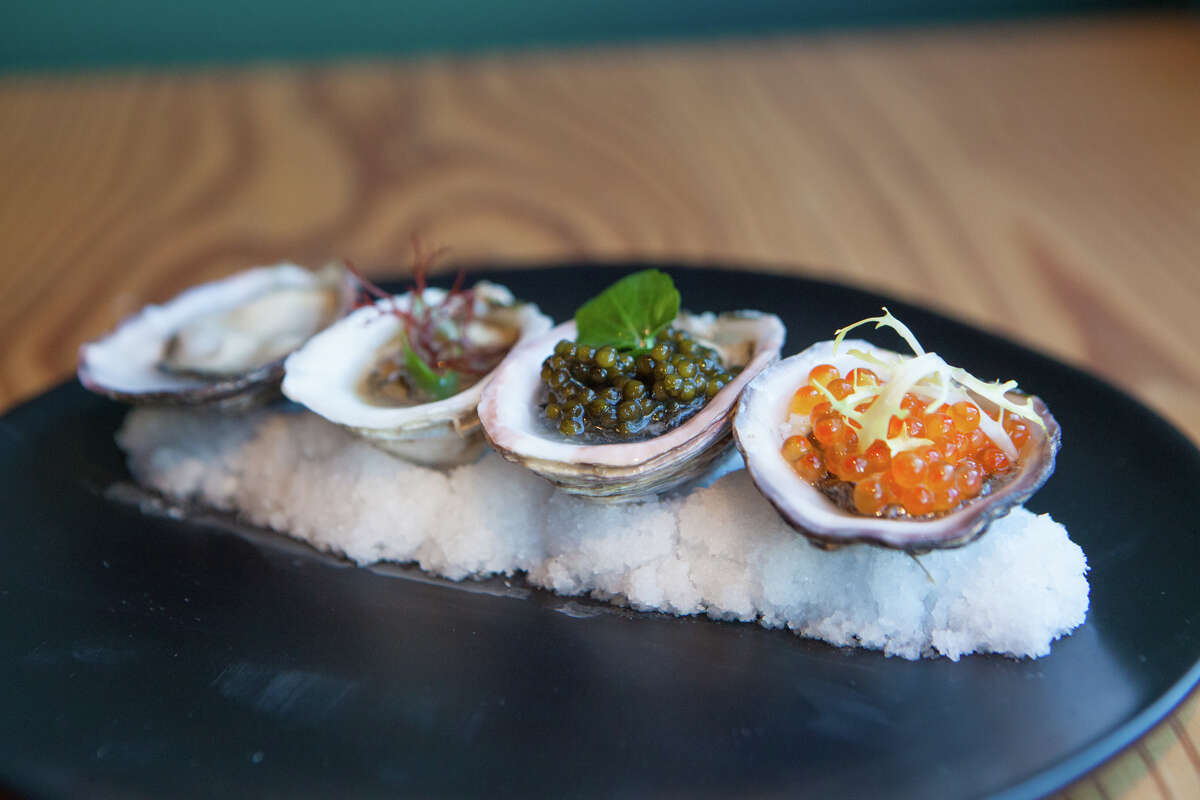 Kusshi oysters prepared with various toppings at Dokkaebier in San Francisco on February 6, 2020.