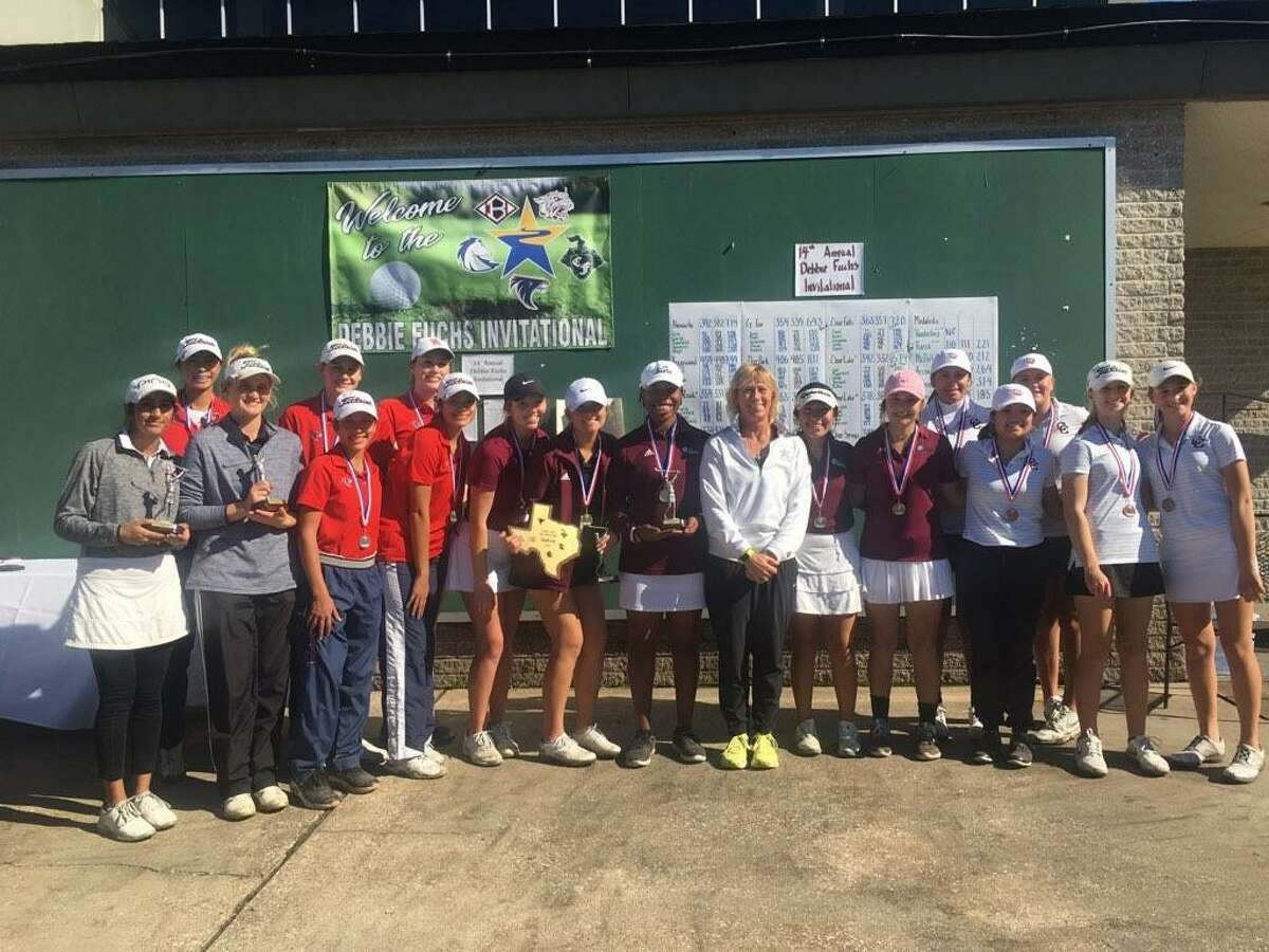 The Clear Lake girls golf team (left) recently finished second at the Debbie Fuchs Invitational. Pearland won the tournament with a 641 total, Clear Lake was second in 674 and Clear Creek was third at 685. Amelia Guo of Clear Lake was medalist after shooting 77-68-145. Erin Flynn of Clear Falls finished second and Kendall Jackson of Pearland placed third. Pearland golfers (center) and Clear Creek golfers (right) are also pictured.