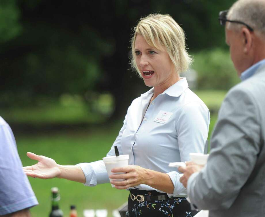 Sue Hatfield, then the Republican attorney general candidate, chats at the 87th annual Cos Cob Republican Clambake at Greenwich Point Park in Old Greenwich in 2018. Photo: Tyler Sizemore / Hearst Connecticut Media / Greenwich Time