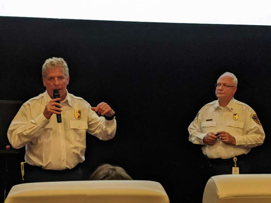 Klein Fire Chief Mike Gosselin, left, and Spring Fire Chief Scott Seifert give an update to the Spring-Klein Chamber of Commerce Tuesday, Feb. 4, 2020. Photo: Paul Wedding