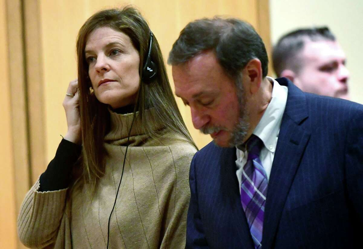 Michelle Troconis, charged with conspiracy to commit murder in the disappearance of Jennifer Dulos, appears for a pre-trial hearing with an spanish interpreter and her attorney Jon L. Schoenhorn Friday, February 7, 2020, at the Stamford Superior Court in Stamford, Conn.