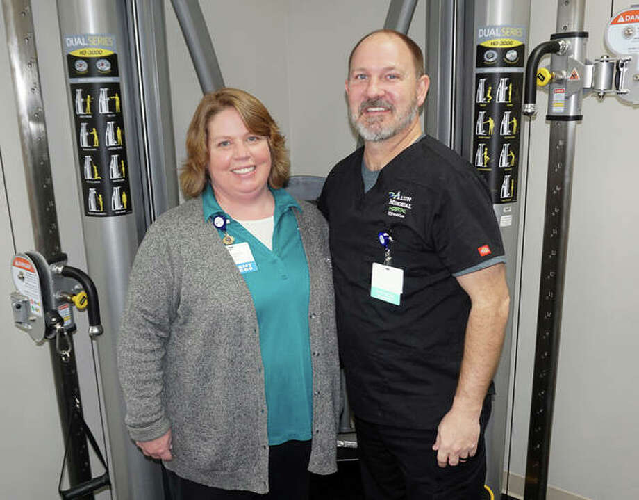Amy Richey and Todd Meiser staff the Alton Memorial Hospital Human Motion Institute location in Bethalto. The facility open last month at 155 E. Bethalto Drive, Bethalto.