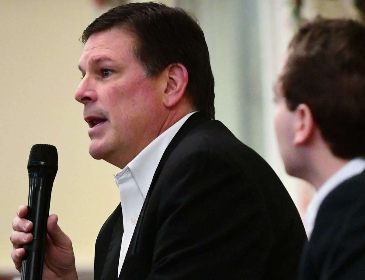 State Rep. Tom O'Dea and State Sen. Will Haskell discuss legislative priorities for coming session during a breakfast forum hosted by the league of Women Voters Saturday, Feb. 1, 2020, at the Greens at Cannondale in Wilton, Conn. O'Dea, and Haskell have both announced runs for reelection.