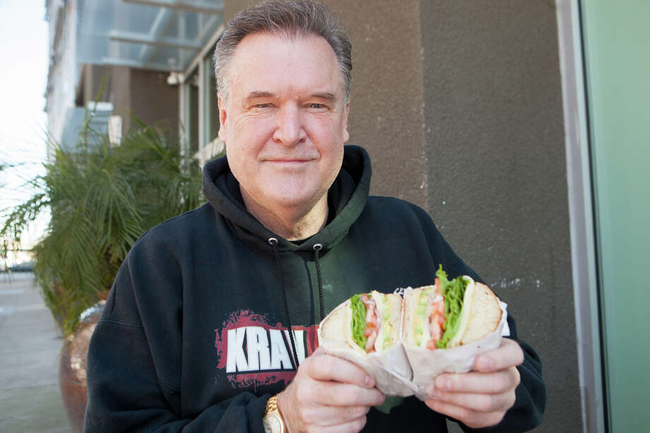 Frank Somerville shows us his favorite deli in Oakland on Thursday, February 6, 2020. A vegetarian since age 12, his regular order is a veggie sandwich with lettuce, tomato, onion, avocado, Swiss cheese and dijon mustard on a hard French roll. Photo: Dan Gentile / SFGate