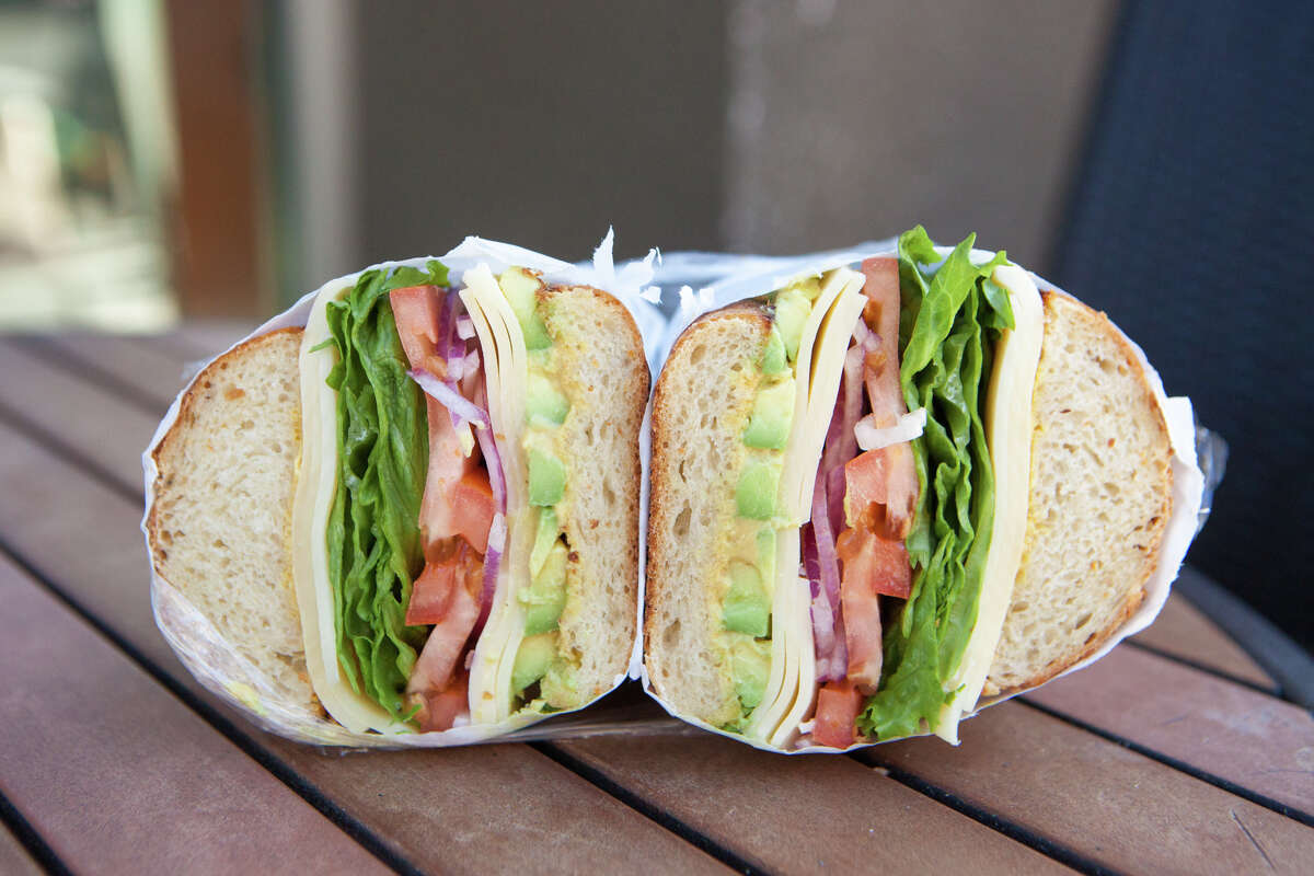 Frank Somerville shows us his favorite deli in Oakland on Thursday, February 6, 2020. A vegetarian since age 12, his regular order is a veggie sandwich with lettuce, tomato, onion, avocado, Swiss cheese and dijon mustard on a hard French roll.