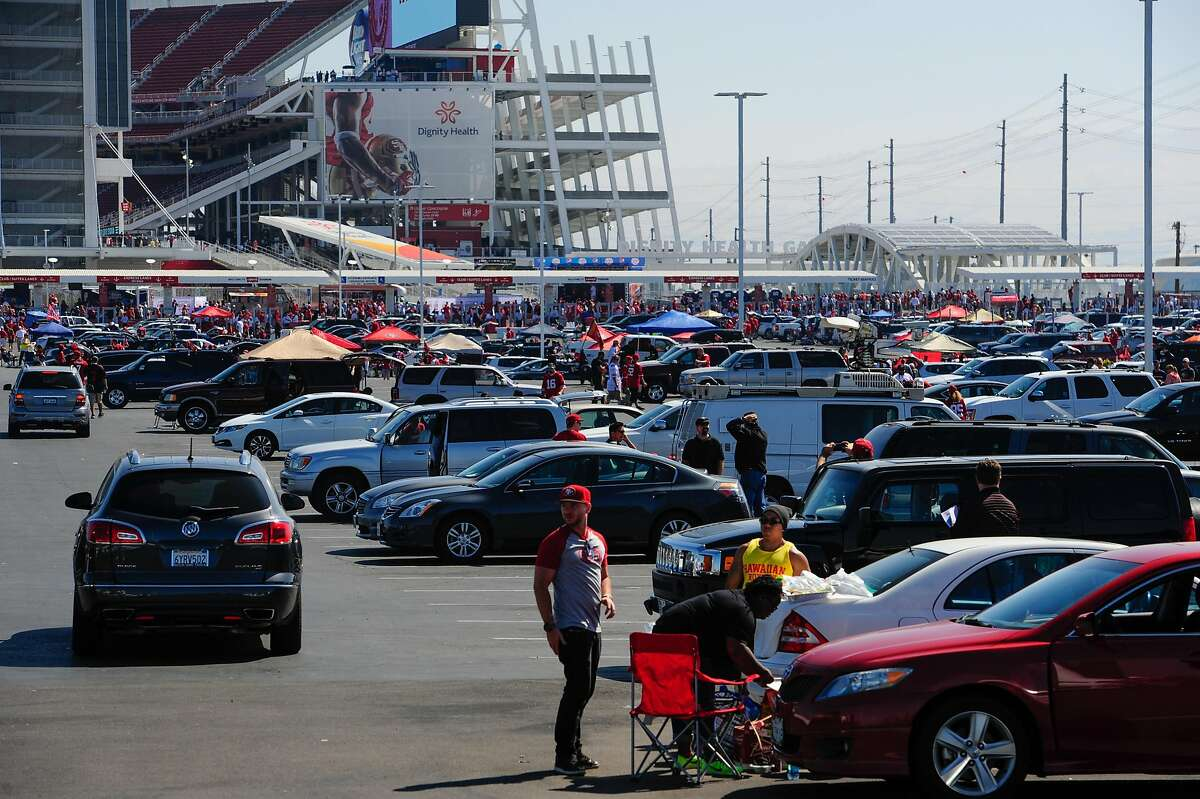 The scene in parking lot zone green 1 outside of Levi's Stadium before the 49ers face the Denver Broncos's on August 17, 2014 in Santa Clara, CA.