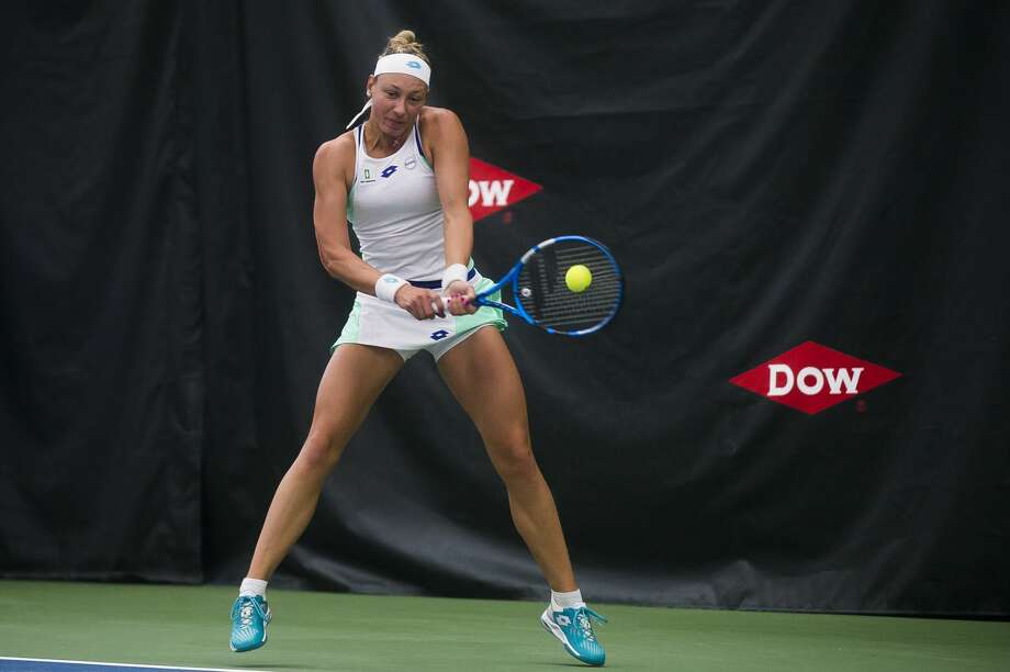 Yanina Wickmayer of Belgium returns the ball in a match against Irina Falconi of the USA during the Dow Tennis Classic Friday, Feb. 7, 2020 at Greater Midland Tennis Center. (Katy Kildee/kkildee@mdn.net) Photo: (Katy Kildee/kkildee@mdn.net)