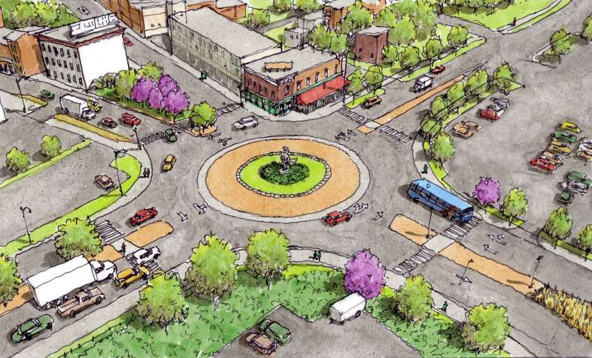 Rendering of the proposed roundabout at the intersection of Federal, River and King streets at Green Island Bridge in Troy, N.Y. (City of Troy)