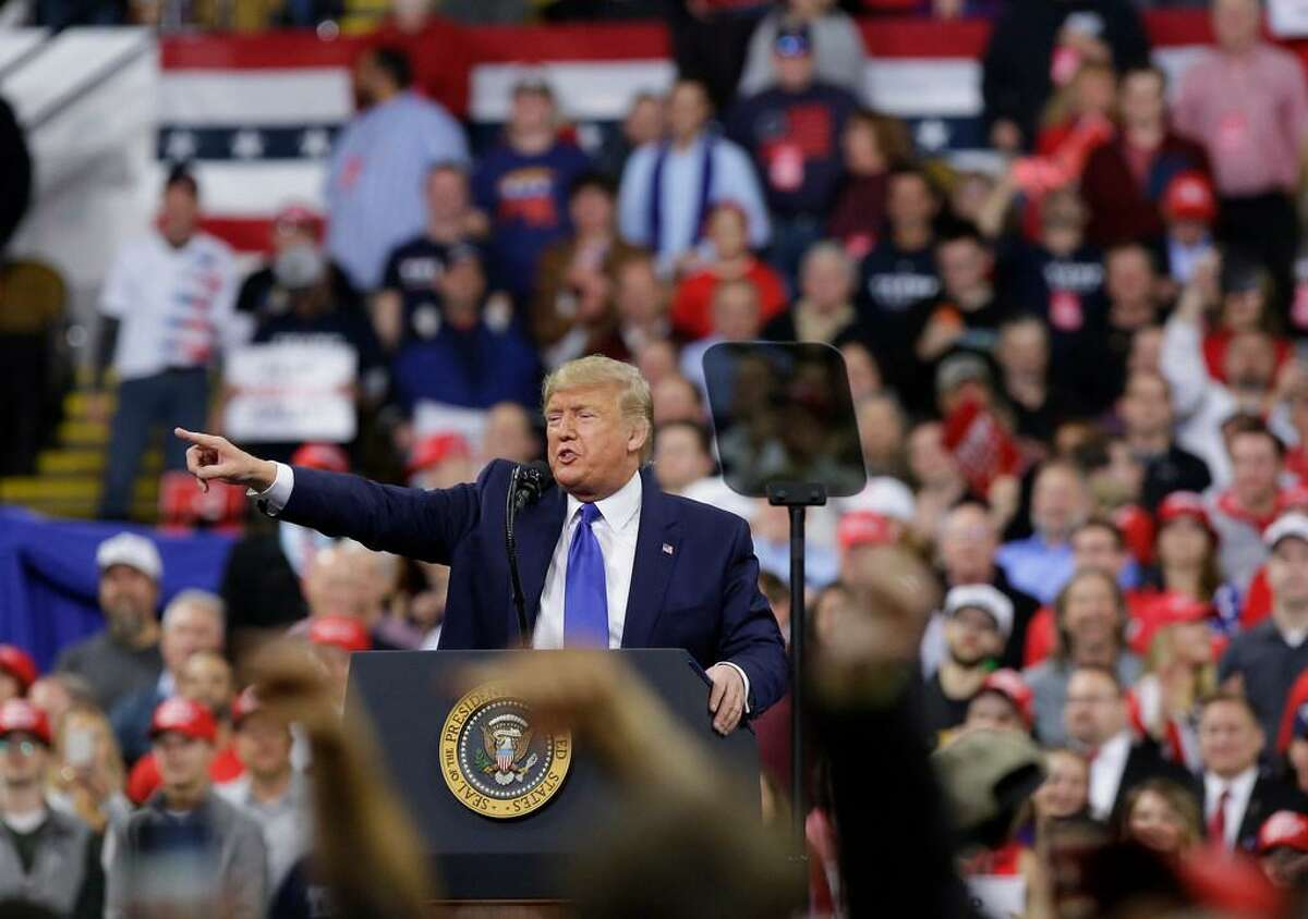 U.S. President Donald Trump speaks during a rally on January 14, 2020 at UWMilwaukee Panther Arena in Milwaukee, Wisconsin. Trump, who is the third president to face impeached, now faces an impending trial in the Senate.