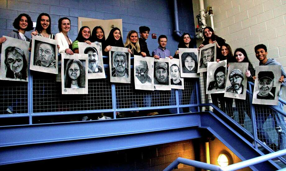Madison Daniel Hand High School art students from two classes — many in the AP program — drew portraits of clients at Middletown's Gilead Community Services, as well as some of themselves for a project which will be on view at the Legislative Office Building in Hartford in early March. Photo: Contributed Photo