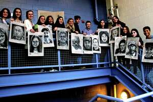 Madison Daniel Hand High School art students from two classes — many in the AP program — drew portraits of clients at Middletown's Gilead Community Services, as well as some of themselves for a project which will be on view at the Legislative Office Building in Hartford in early March.