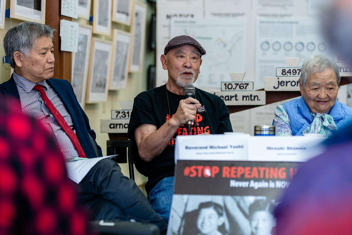 Hiroshi Shimizu (center), Japanese American camp survivor, speaks to the audience at the news conference to commemorate the anniversary of Executive Order 9066 at The National Japanese American Historical Society on Friday, Feb. 7, 2020, in San Francisco, Calif.