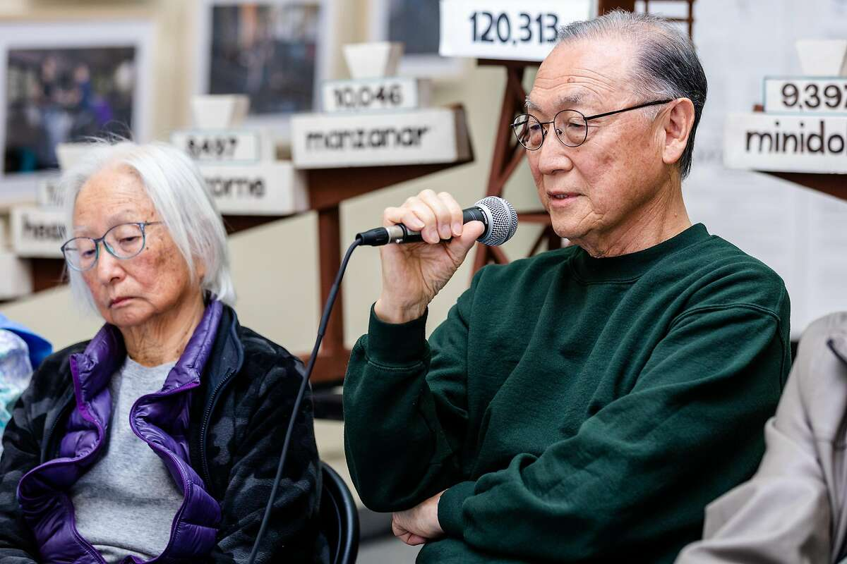 Kazumu Naganuma, Japanese American camp survivor, speaks to the audience during the news conference to commemorate the anniversary of Executive Order 9066 at The National Japanese American Historical Society on Friday, Feb. 7, 2020, in San Francisco, Calif.