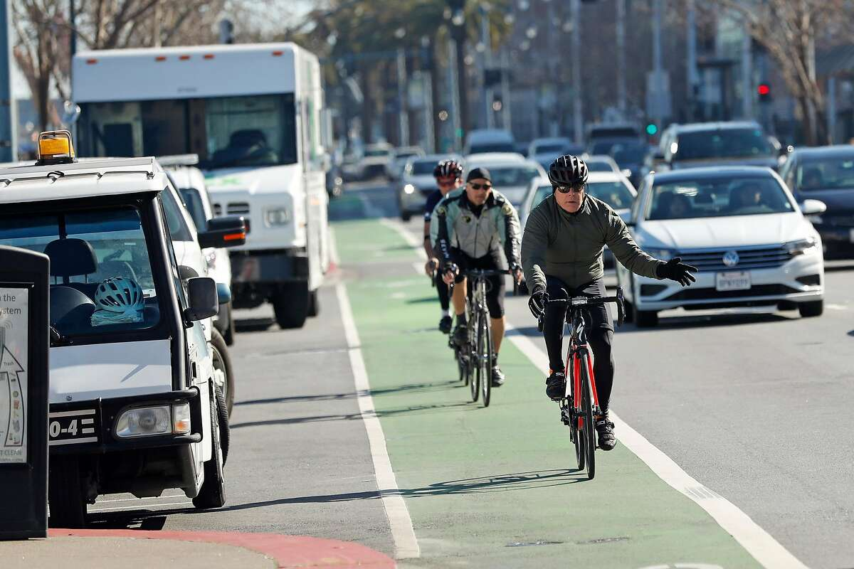 Bike lane along the Embarcadero in San Francisco, Calif., on Thursday, February 6, 2020.