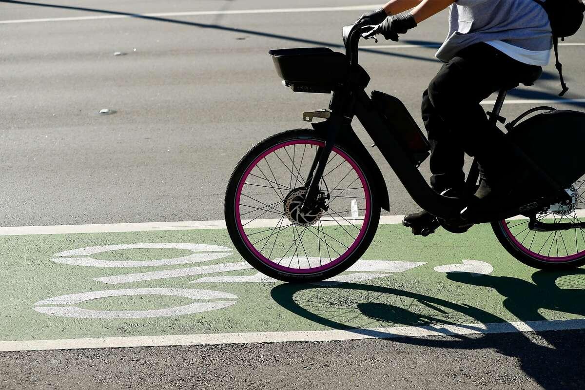 Bike lane along the Embarcadero in San Francisco, Calif., on Thursday, February 6, 2020.