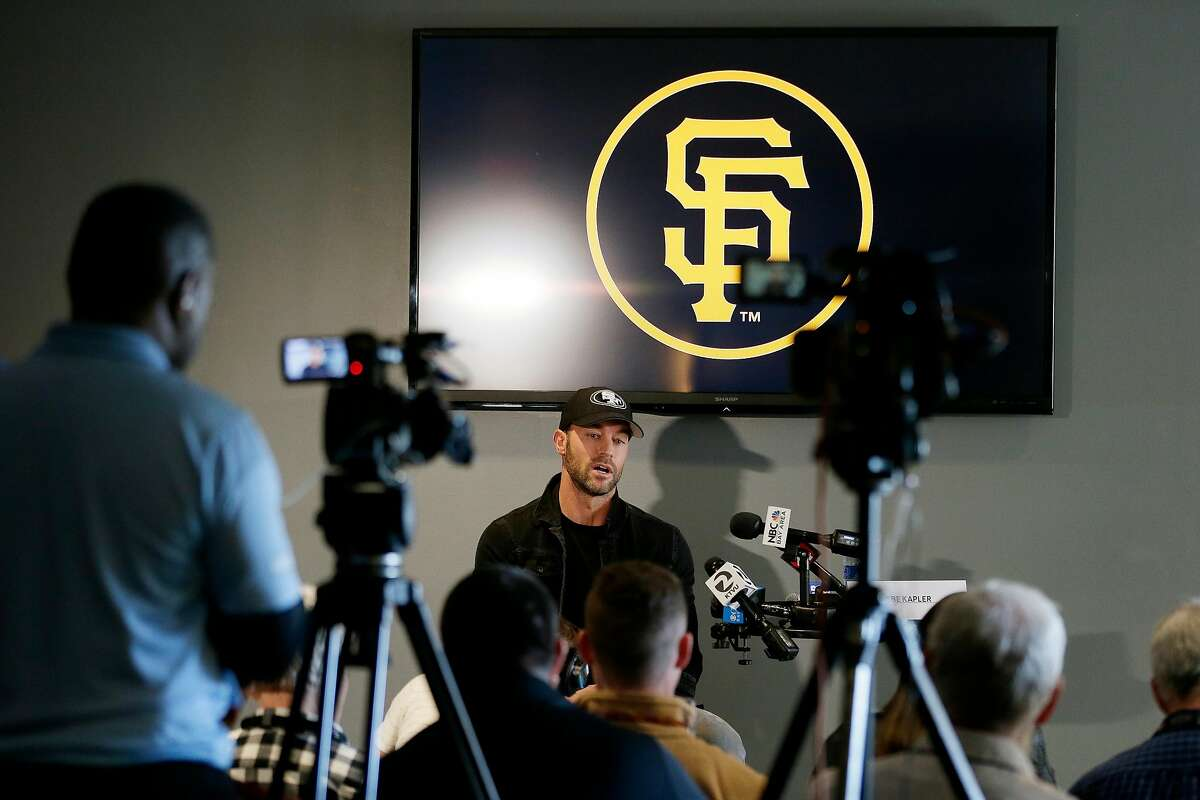 San Francisco Giants manager Gabe Kapler in a news conference at Oracle Park on Friday, Feb. 7, 2020, in San Francisco, Calif.