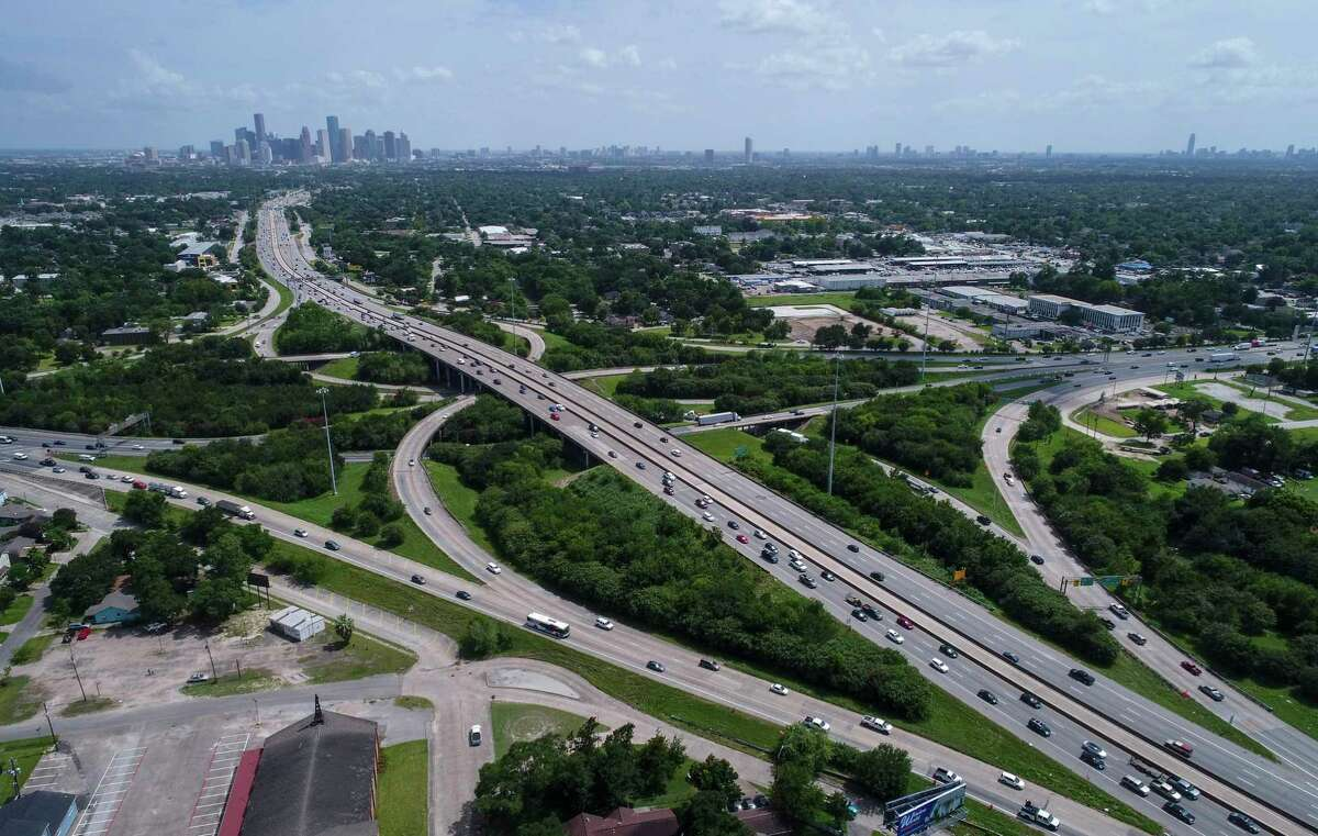 Interstate 45 crosses Loop 610, near Independence Heights, lower right, as traffic passes by on July 5, 2019, in Houston.