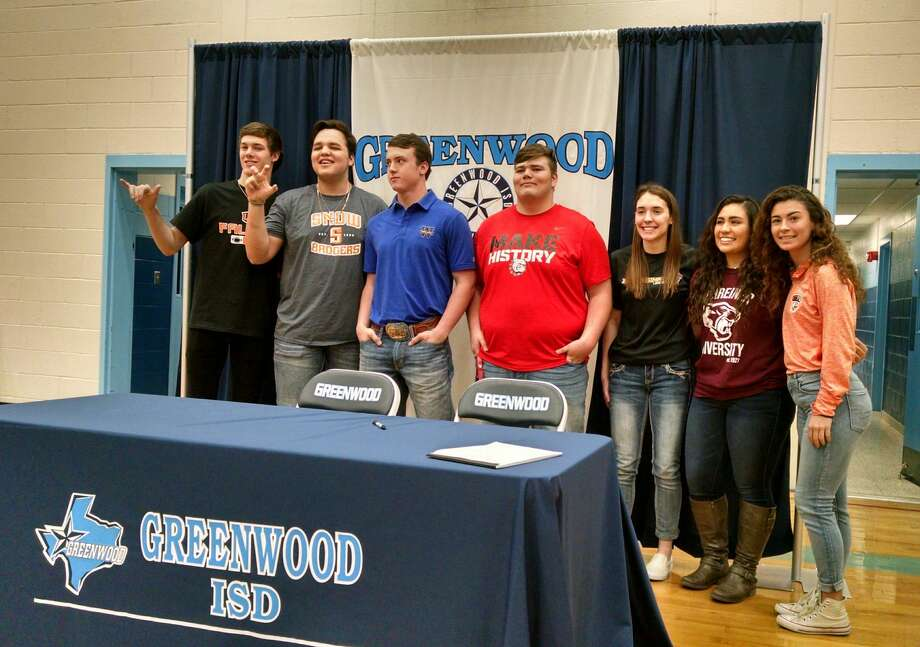 Greenwood student-athletes participating in a signing ceremony at Greenwood High School, were from left to right, Brody Ray (UTPB football), Joe Contreras (Snow College football), Jayden Kitchens (Wayland Baptist University), Zach Bull (McPherson College), Madison Hartman (Hardin-Simmons women's basketball), Jasmine Ramirez (Schreiner University women's soccer) and Hayley Sawyer (UTPB women's soccer). Photo: Oscar LeRoy,  Reporter-Telegram
