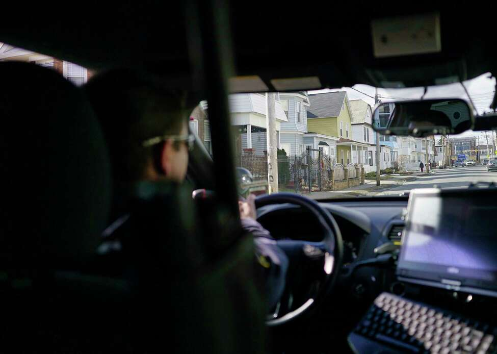 Schenectady Police Officer Pat Irwin drives through the Mont Pleasant section of the city on Wednesday, Feb. 5, 2020, in Schenectady, N.Y. (Paul Buckowski/Times Union)