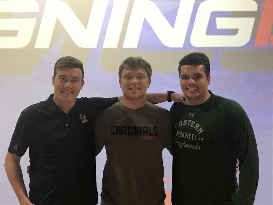 Midland Christian football players (left to right) Kage Gilbreath, Riggs McDonald and Campbell Keithley pose for a picture during a Signing Day ceremony, Feb. 7 at McGraw Event Center. Gilbreath signed with Howard Payne, McDonald inked with Trinity Valley Community College and Keithley signed with Eastern New Mexico. Photo: Christopher Hadorn