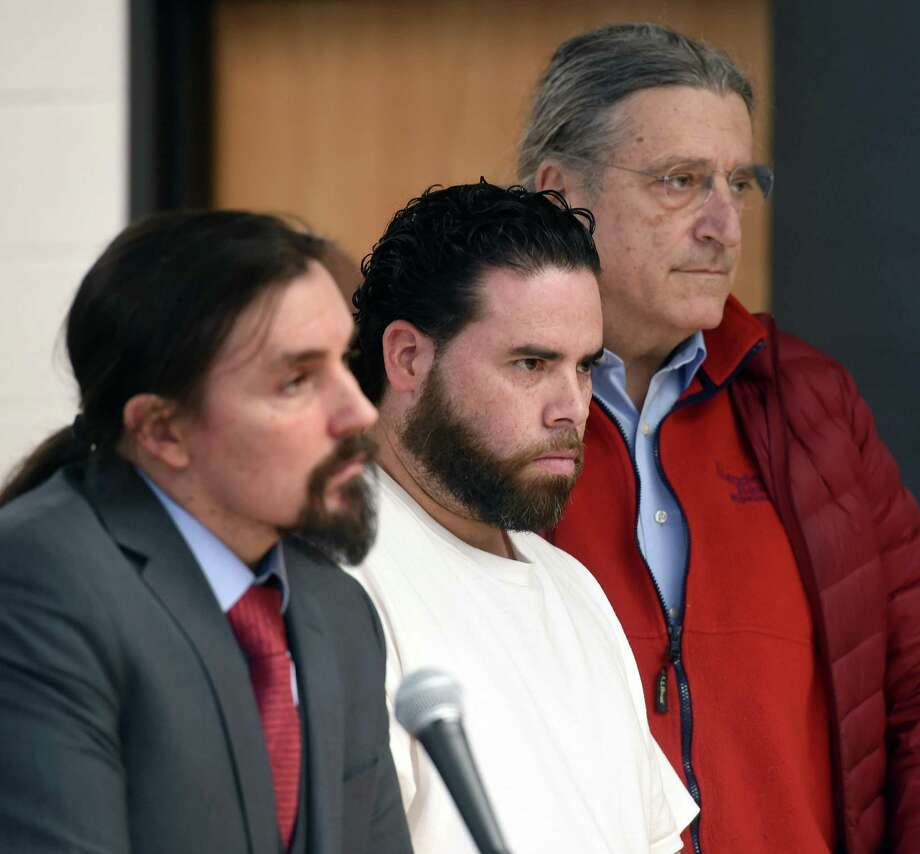 Jose Morales (center) appears with his lawyers, Kevin Smith (far left) and Norm Pattis (far right) in Derby Superior Court on Feb. 7, 2020 hours after being arrested for the murder of Christine Holloway. Photo: Arnold Gold / Hearst Connecticut Media / New Haven Register