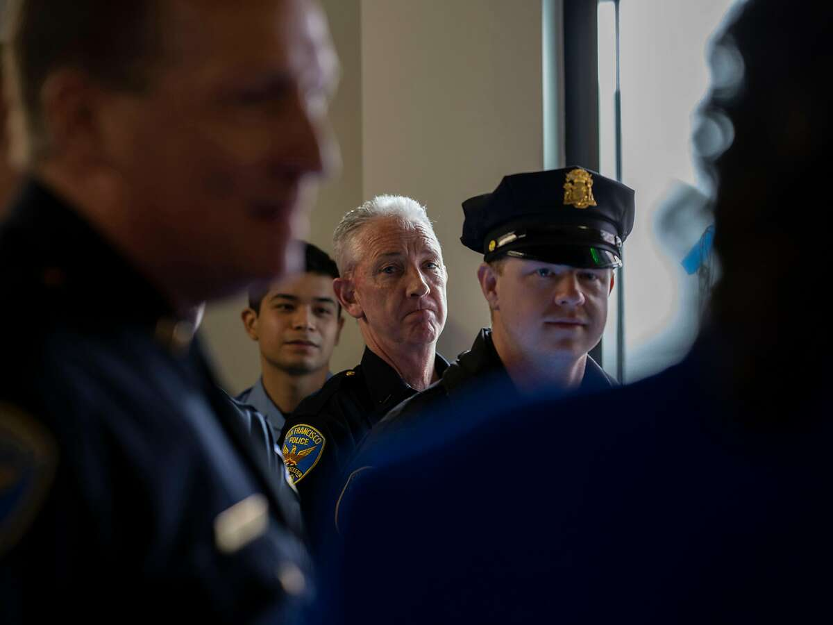 Officers listening to Mayor London Breed at 1100 Market Street, the site of a new San Francisco Police Department beat office, on Tuesday, Feb. 4, 2020.