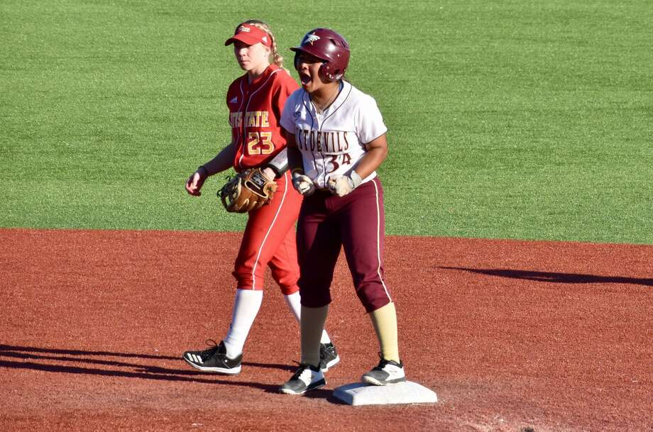Briana Arredondo had two home runs, two doubles and RBIs in five innings Friday in TAMIU's 15-2 win over Texas Woman's. Photo: Matthew Balderas /TAMIU Athletics File