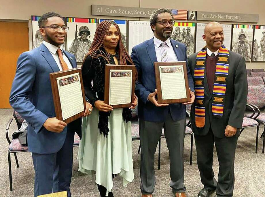 From left are Common Council members Ed Ford Jr., Jeanette White, Darrell Ford and Deputy Majority Leader Grady Faulkner. They accepted proclamations from Faulkner at this month's meeting. Photo: Councilman Ed Ford Jr. Photo