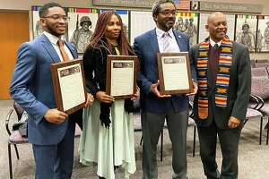 From left are Common Council members Ed Ford Jr., Jeanette White, Darrell Ford and Deputy Majority Leader Grady Faulkner. They accepted proclamations from Faulkner at this month's meeting.