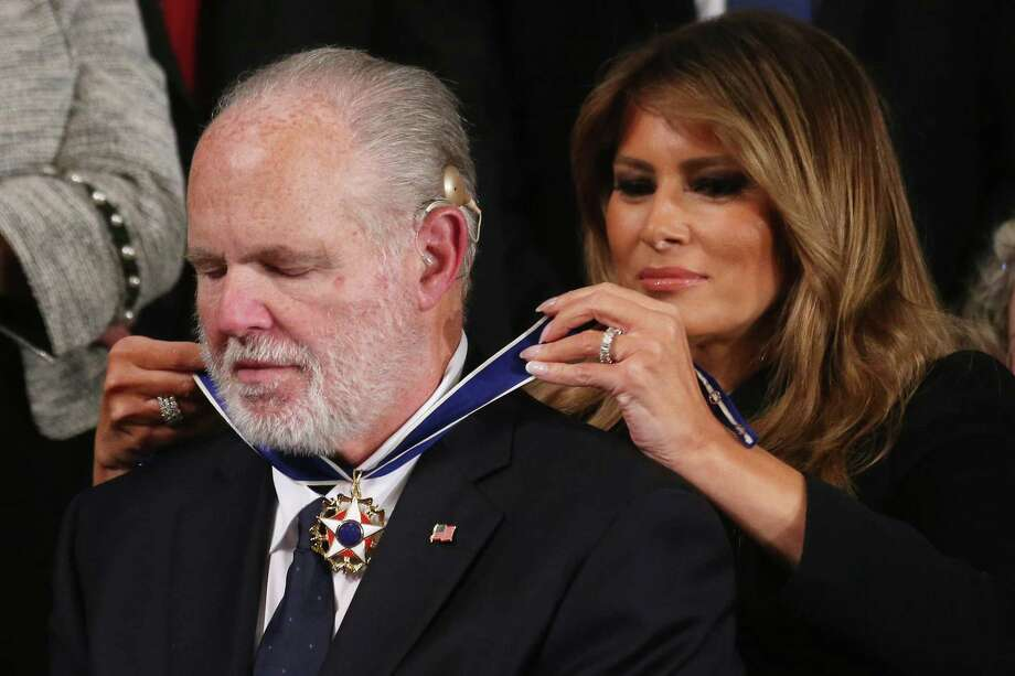 Radio personality Rush Limbaugh reacts as First Lady Melania Trump gives him the Presidential Medal of Freedom during the State of the Union address in the chamber of the U.S. House of Representatives on February 04, 2020 in Washington, DC. Photo: Mario Tama / Getty Images / 2020 Getty Images