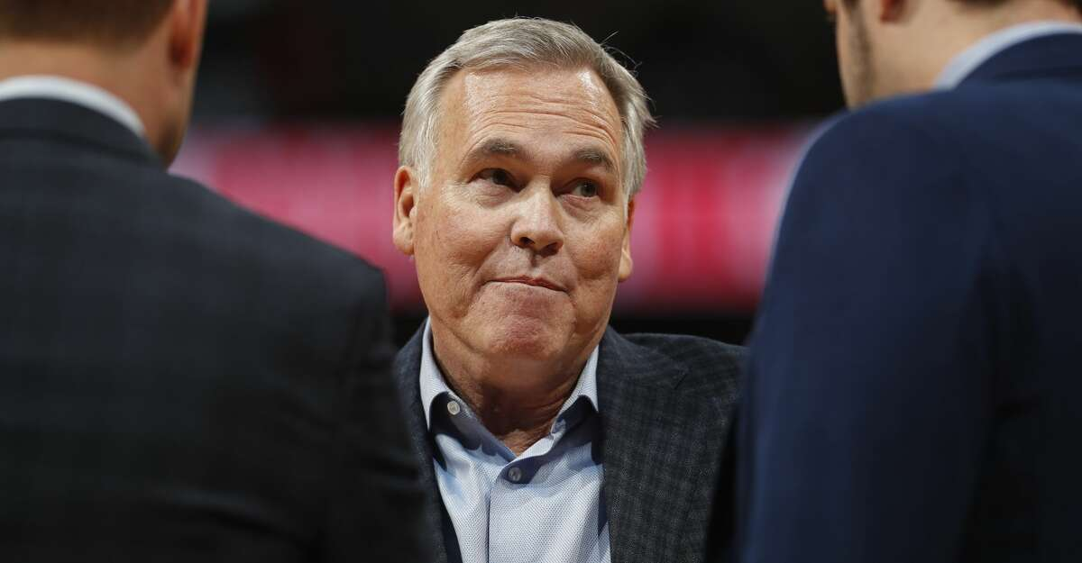 Houston Rockets head coach Mike D'Antoni in the second half of an NBA basketball game Sunday, Jan. 26, 2020, in Denver. The Nuggets won 117-110. (AP Photo/David Zalubowski)