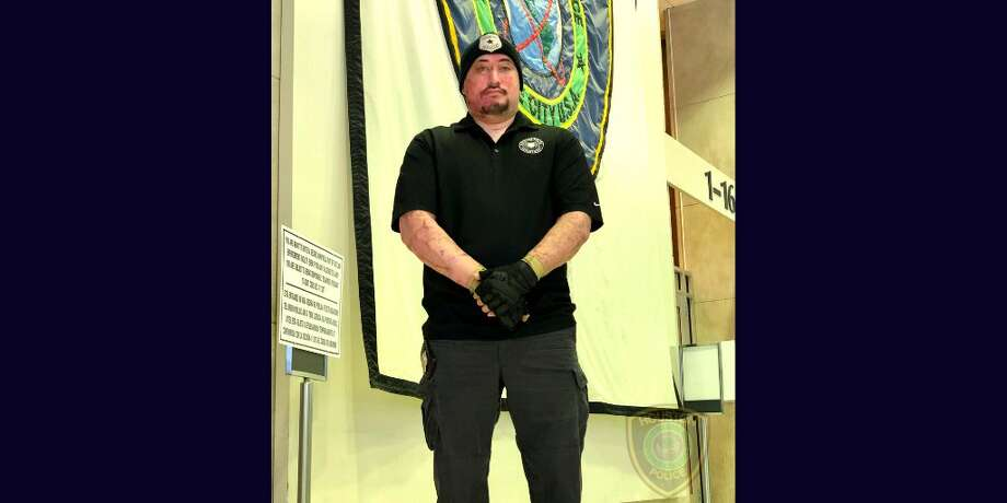 Houston Police Officer John Daily, who was severely burned after a driver plowed into his squad car on Christmas Eve 2018, has returned to work, police said. Photo: Houston Police Department