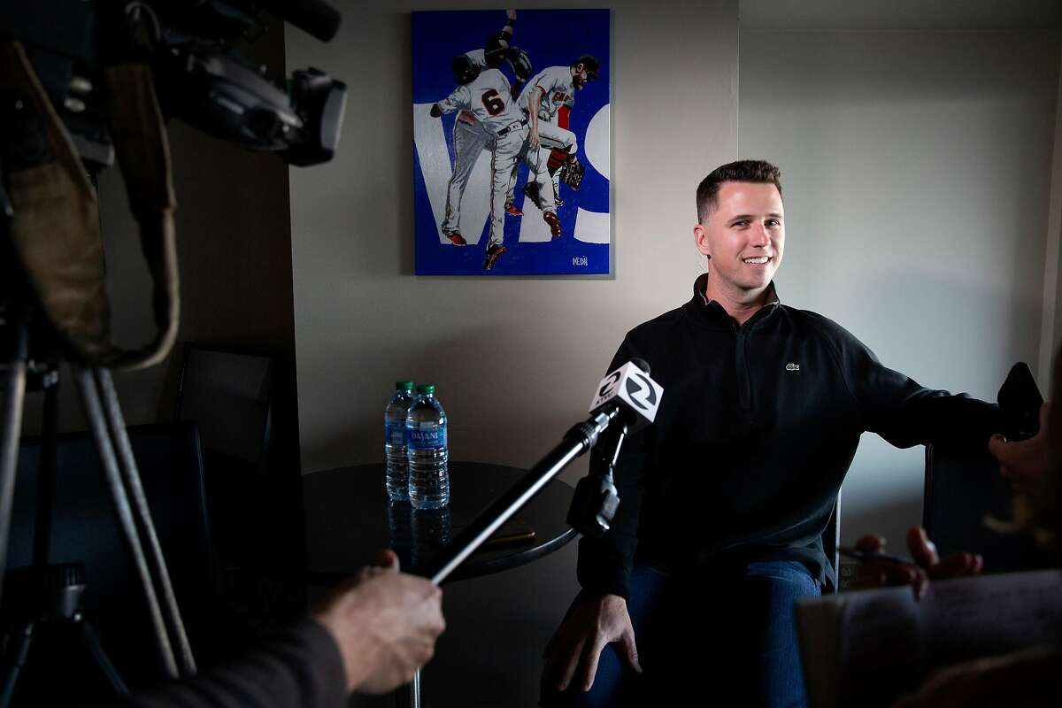 San Francisco Giants Buster Posey during a news conference at Oracle Park on Friday, Feb. 7, 2020, in San Francisco, Calif.