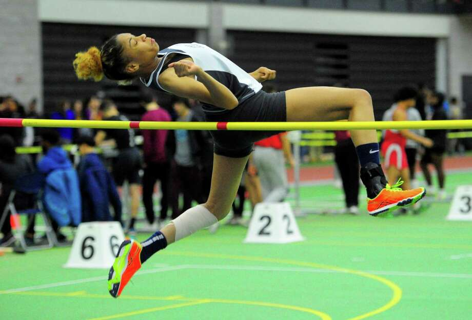 Hillhouse's Tatiana Harris competes in the high jump during SCC Indoor Track and Field Championship action in New Haven, Conn., on Friday Feb. 7, 2020. Photo: Christian Abraham / Hearst Connecticut Media / Connecticut Post