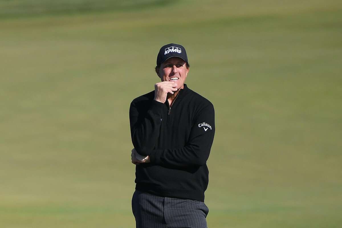 PEBBLE BEACH, CALIFORNIA - FEBRUARY 07: Phil Mickelson of the United States reacts after a shot on the 12th hole during the second round of the AT&T Pebble Beach Pro-Am at Monterey Peninsula Country Club on February 07, 2020 in Pebble Beach, California. (Photo by Harry How/Getty Images)