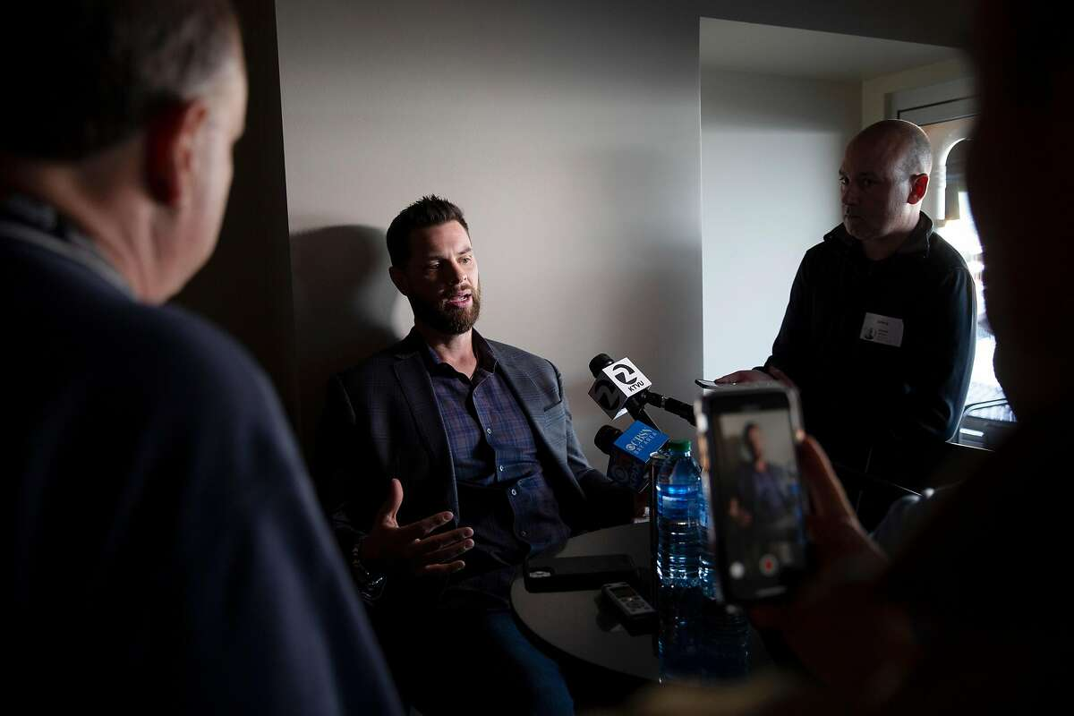 San Francisco Giants Brandon Belt during a news conference at Oracle Park on Friday, Feb. 7, 2020, in San Francisco, Calif.