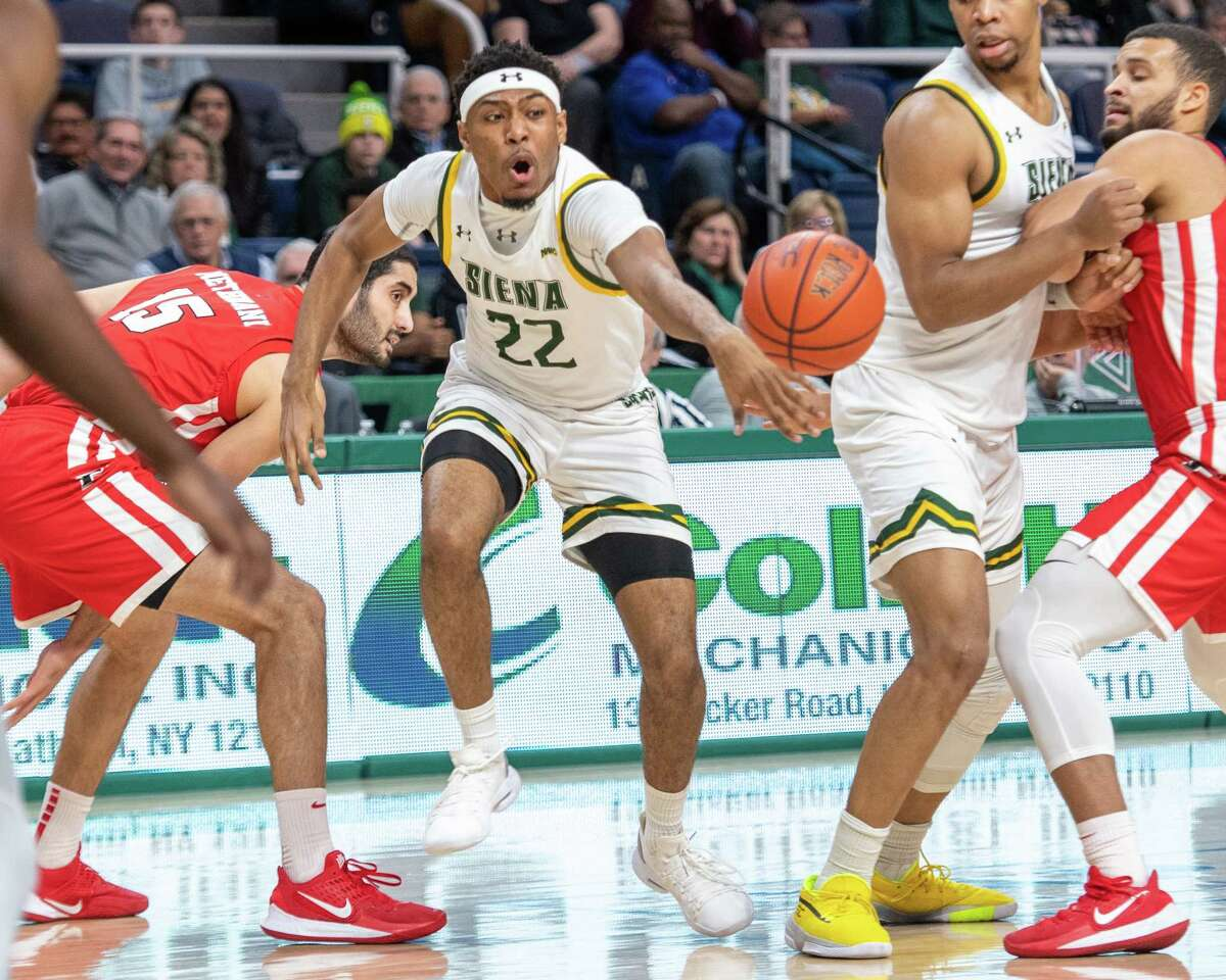 Siena College sophomore Jalen Pickett loses control of the ball during a Metro Atlantic Athletic Conference game against Fairfield University at the Times Union Center in Albany NY on Friday, Feb. 7, 2019 (Jim Franco/Special to the Times Union.)
