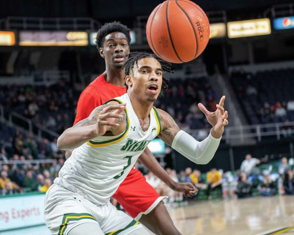 Siena College junior Manny Camper watches a ball go out of bounds during a Metro Atlantic Athletic Conference game against Fairfield at the Times Union Center in Albany NY on Friday, Feb. 7, 2019 (Jim Franco/Special to the Times Union.)