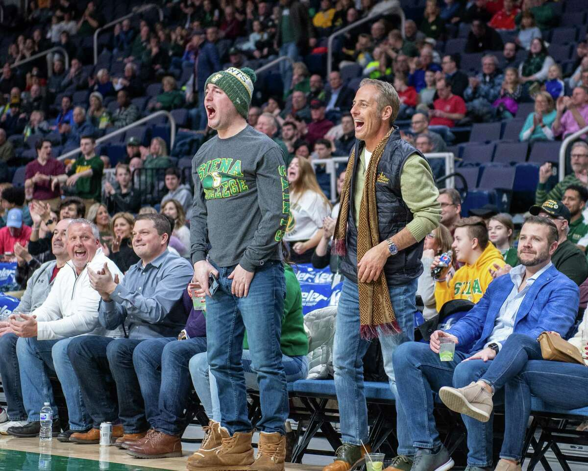 Siena College fans cheer their team during a Metro Atlantic Athletic Conference game against Fairfield at the Times Union Center in Albany NY on Friday, Feb. 7, 2019 (Jim Franco/Special to the Times Union.)