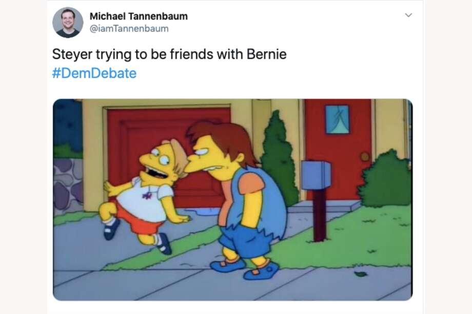 "Twitter users roast Tom Steyer for ""kissing up"" to Bernie Sanders during a Democratic presidential debate on Feb. 7, 2020. Photo: Twitter"