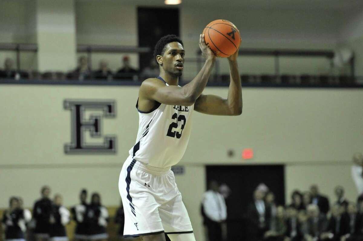 Yale's Jordan Bruner shoots against Harvard last month in New Haven.